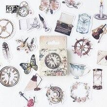 Vintage Clock DIY Scrapbooking Paper Boxed Stickers Planner Notebook Diary Album Wedding Birthday Retro Flower Decoration @TZ-36