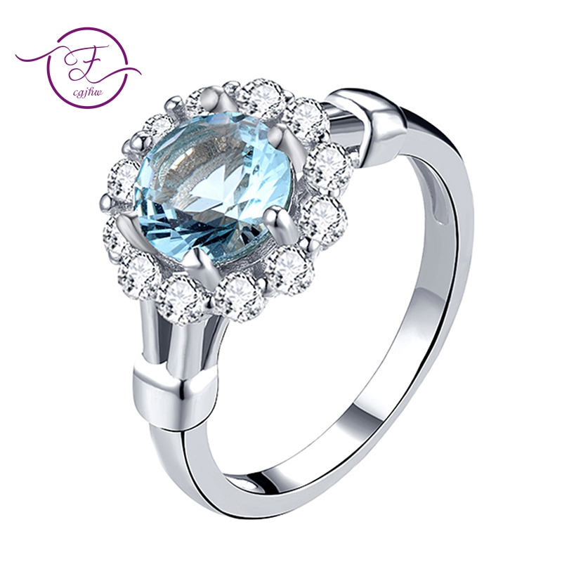 Sterling Silver 925 Rings For Women Fine Jewelry Inlay Radiant Blue Clear Zircon Wedding Engagement Party Christmas GiftsSterling Silver 925 Rings For Women Fine Jewelry Inlay Radiant Blue Clear Zircon Wedding Engagement Party Christmas Gifts
