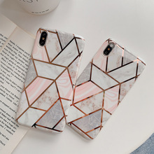 Cong Fee Phone Cases Geometric Marble Texture For iPhone XR XS Max 6 6S 7 8 Plus X  Back Cover Gift