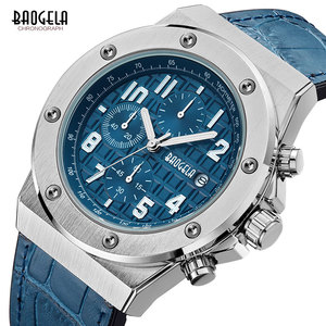 Image 3 - Baogela Mannen Nieuwe Quartz Horloges 2019 Waterdicht Chronograaf Casual Lichtgevende Polshorloge Man Lederen Band Relogios 1805 Blauw