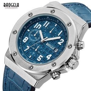 Image 3 - Baogela novos relógios de quartzo masculino 2019 cronógrafo à prova dwaterproof água relógio de pulso luminoso casual homem pulseira de couro relogios 1805 azul