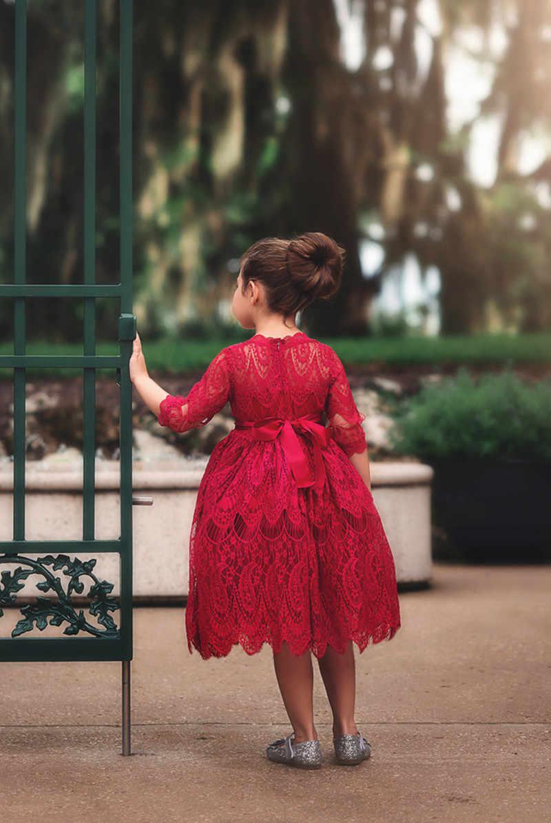 Рождественское кружевное платье с цветочной вышивкой для девочек; Детские платья для девочек; вечерние платья принцессы; сезон осень-зима; бальное платье; одежда для детей