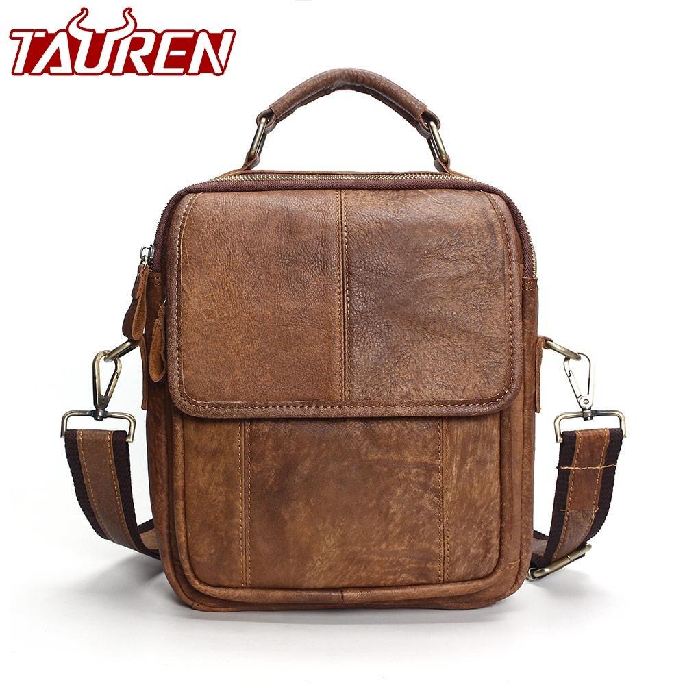 Новинка 2019 года из натуральной кожи сумки на плечо Модные для мужчин сумка маленькая Ipad мужской Tote Винтаж Новый Crossbody