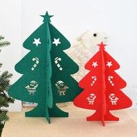 Christmas Table Decoration Lovely Mini Felt Cloth Christmas Tree Snowman Desktop Ornaments Xmas Craft Accessories Gifts