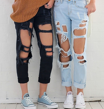 ladies's vogue ripped informal denims Female american attire Boyfriend Ripped Destroyed Cut up Pants, Blue / Black