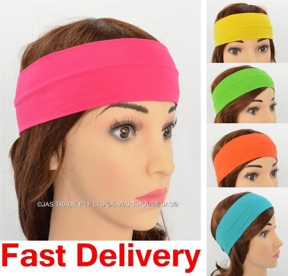 Lycra solid color Stretch sports Headband Hair bands sweatband assorted  colors fd88b5805be