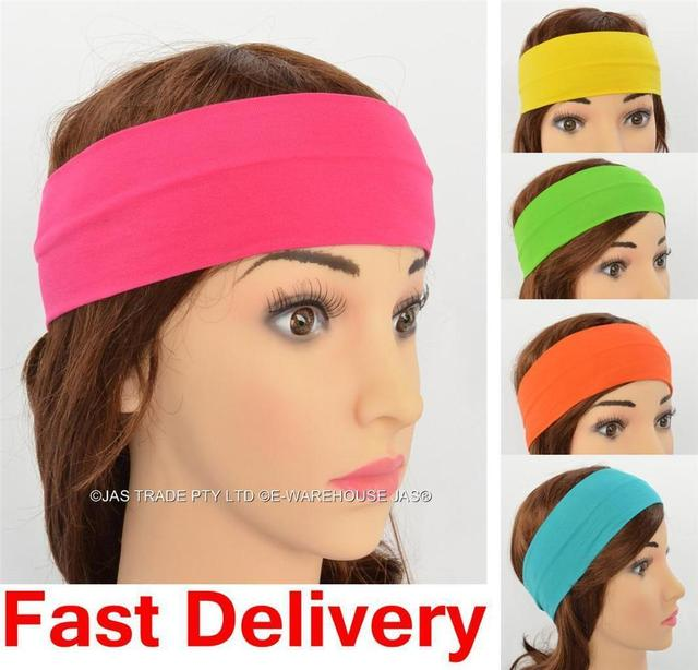 Lycra Solid Color Stretch Sports Headband Hair Bands Sweatband Assorted Colors