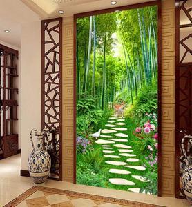 High quality 3d room wallpaper landscape modern photo entrance door decoration home hotel