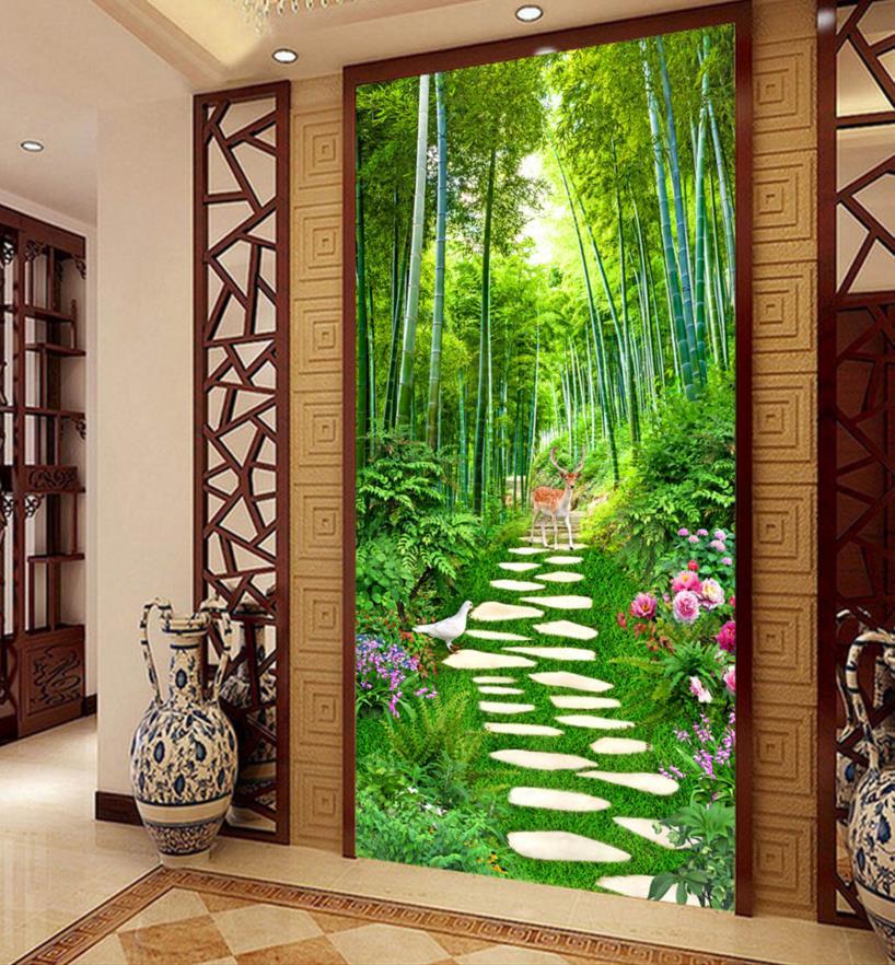 door entrance hotel 3d decoration modern landscape wallpapers