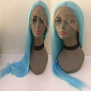Image 3 - Bombshell שמיים כחול ישר סינטטי שיער תחרה מול פאת Glueless טבעי קו שיער עמיד בחום סיבי שיער לנשים פאות