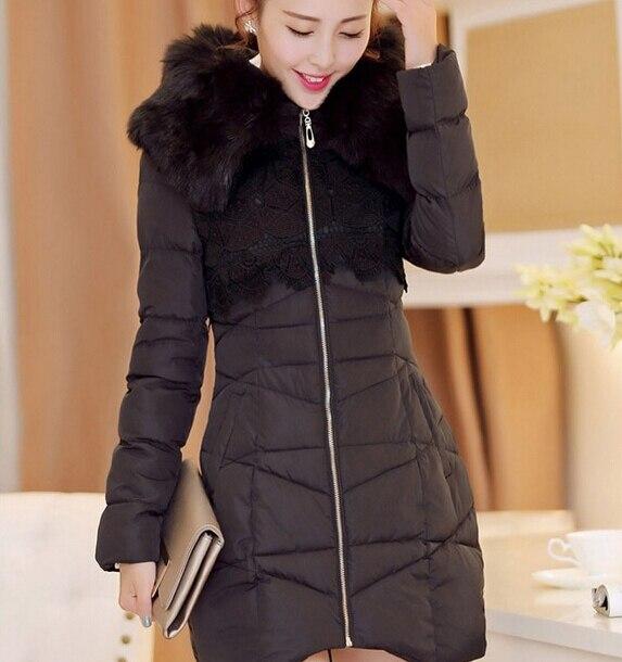 Novo casaco de inverno mulheres Faux gola de pele rendas Patchwork com capuz Zipper casaco elegante fino longo casaco de algodão acolchoado WJ2333