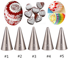5Pcs Metal Icing Piping Nozzles Set Cake Cream Pastry Tools Stainless Steel Decorating Tips Writing Head