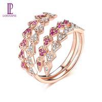 LP Natural Ruby Diamond Rings for Women Men Couples Customized 18K Rose Gold Wedding Bang Ring Engagement Gift For Lovers