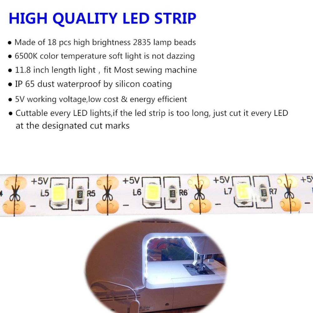 Sewing Machine LED Light Strip Light Kit 11 8inch DC5V Flexible USB Sewing Light 30cm Industrial Sewing Machine LED Light Strip Light Kit 11.8inch DC5V Flexible USB Sewing Light 30cm Industrial Machine Working LED Lights