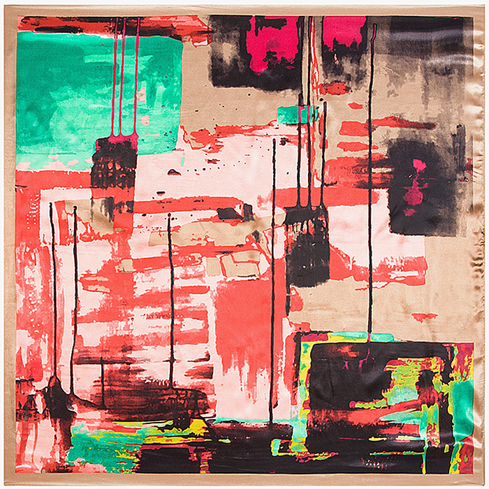Abstraite Géométrique Splash Carré Écharpe de Soie Sentiment 90 cm Foulards  Match de Vêtements Accessoire Femme Fille Ajouter Vêtements Cadeau 90FJ34 9ae583d8bbf