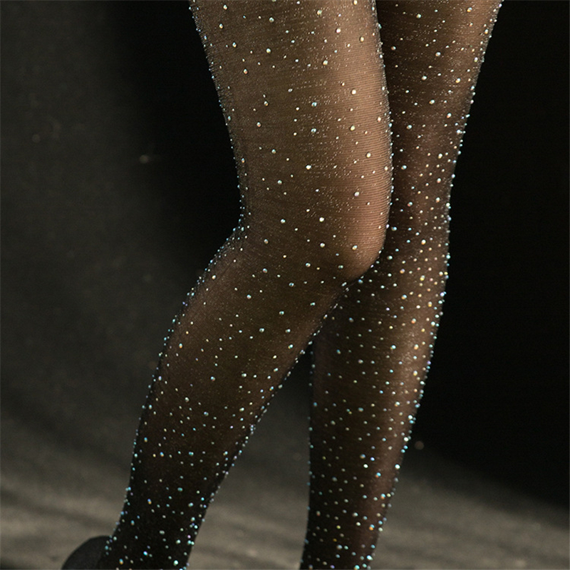 Lady Women Black Sexy Shiny Stockings Ultra Thin Pantyhose Crystal Rhinestone Tights Ladies Elastic Stockings Collant Summer New