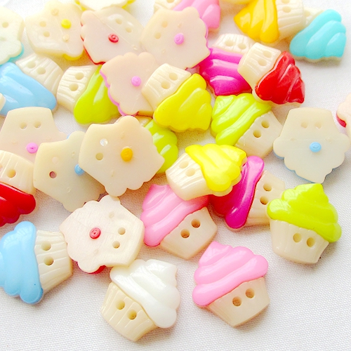 30pcs 16x16mm Ice Cream Shaped Plastic Buttons Shirt Sweater Button Sewing Accessories Baby Botone Scrapbook Embellishment