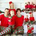 Nova Natal XMAS Crianças Adulto Pijamas Set Camisola Listrada de Manga Longa Calça + Camisa Ceroulas Conjunto de Salas Nightwears Sleepwears 138