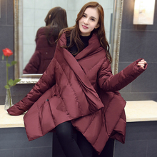 2015 New Winter Fashion Solid Color Loose Form Large Size Type Cloak Shape Zipper & Pockets Decoration Female Down WWA-002