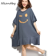 f3297d597bf Women Plus size Batwing sleeve Long T shirts 2018 Summer Smile Pattern  Casual Loose Oversize Female
