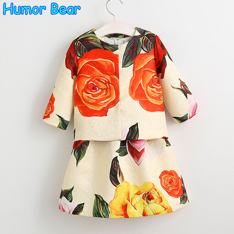 Humor Bear Children clothing Girls Clothing Sets 2017 New summer European and American Style Printing Design Kids Clothing Sets new next fall girls graffiti sets european and american style printing zipper cardigan cartoon princess hot sale children s sets