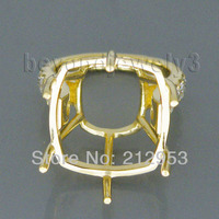 Vintage VS Round Cut Diamond Ring Cushion 15mm Solid 18Kt Yellow Gold Semi mount Ring WU126
