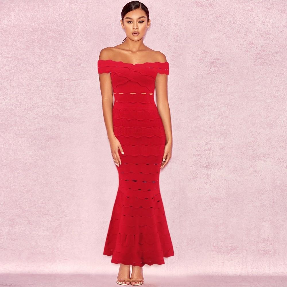 a465a005df Robe En Slash Nuit Hors Dos Évider Robes Rose Femmes L'épaule De Boîte Sexy  Soirée Moulante rouge turquoise Gros Bandage ...