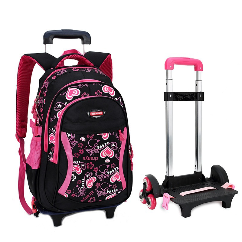 Trolley School Bag for Girls with Three Wheels Backpack Children Travel Bag Rolling Luggage Schoolbag Kids Mochilas Bagpack universal uheels trolley travel suitcase double shoulder backpack bag with rolling multilayer school bag commercial luggage
