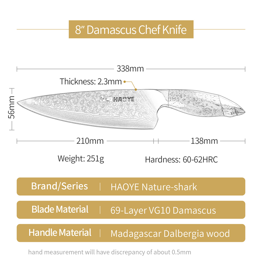 Image 2 - HAOYE Damascus chefs knife Japanese 67 layers vg10 steel kitchen  knives profession wide blade sandalwood handle luxury Gyuto NEWKitchen  Knives