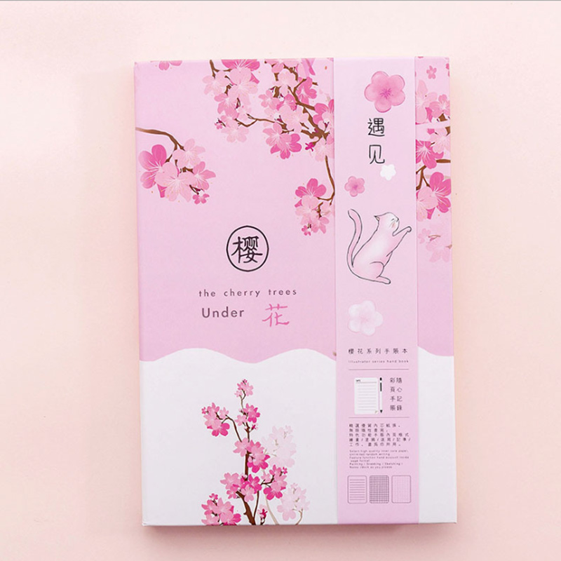 Japanese Dream Beautiful Cherry Blossom Notebook Pink Girl Heart Pocket Notepad Small Fresh Student Diary Book