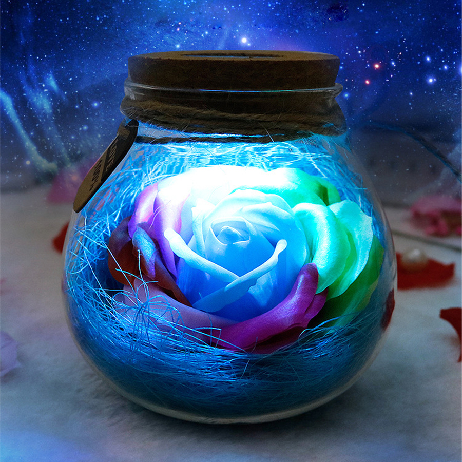 Led Romantic Rose Flower Remote Light Bottle Dimmer Lamp Night Light Flower Bottle Creative Gift For Girl Home Decoration