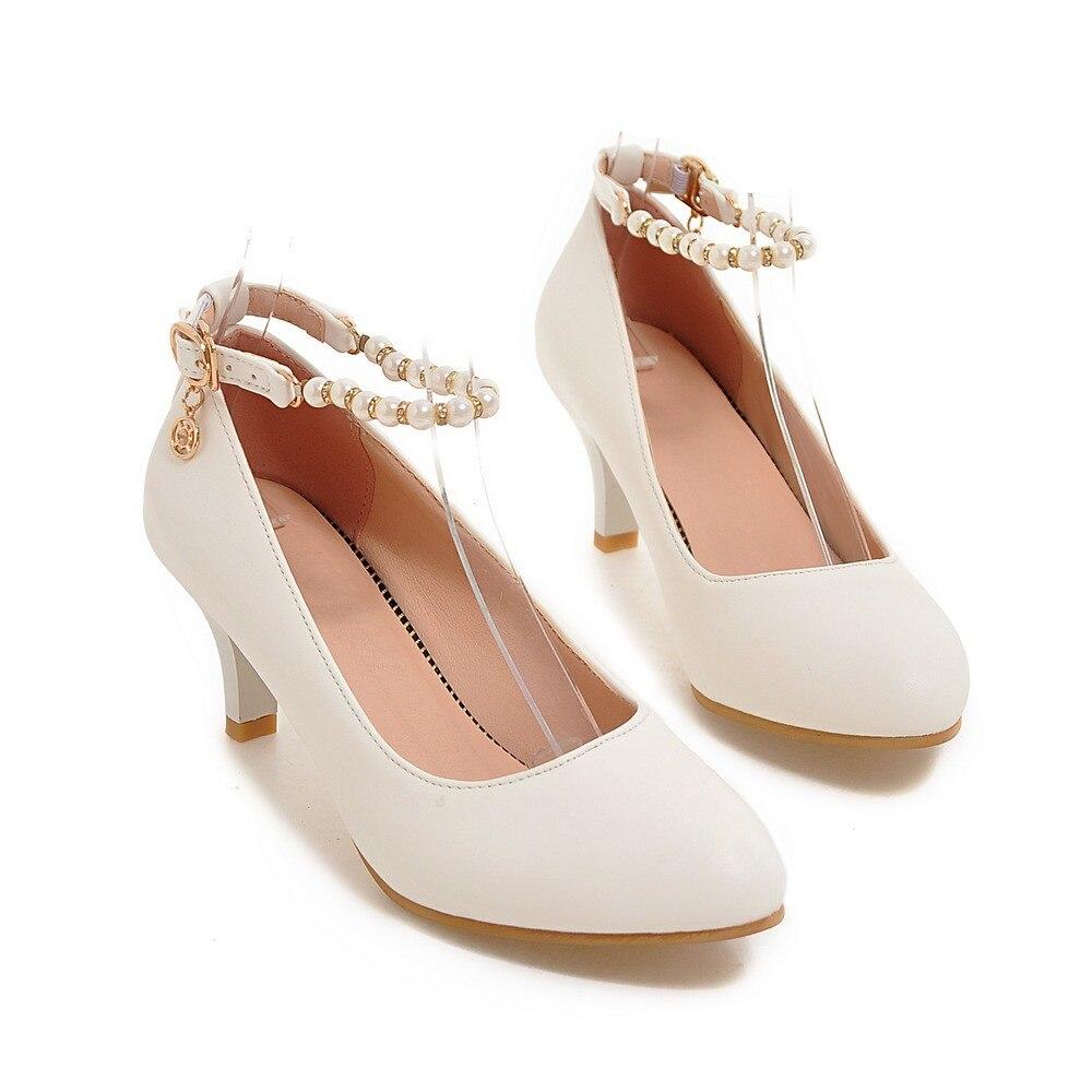 Noce Hauts Chaussures apricot Ronde Maturité Carré Noir Pompes De Talons Femmes Boucle Avec blanc 2018 Dames Moonmeek Simples Orteil Talon 6U5wqZwxv