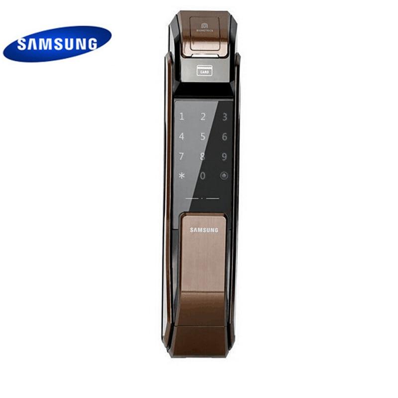 US $349 5 25% OFF|English Version Big Mortise Samsung SHS P718 Fingerprint  Digital Door Lock / Push Pull Door Lock Coffee color-in Electric Lock from