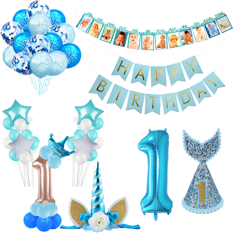 WEIGAO First Birthday Photo Clips Banner Garlands One Year Old Blue 1 Number Balloons Baby Shower Boy Birthday Decor Supplies
