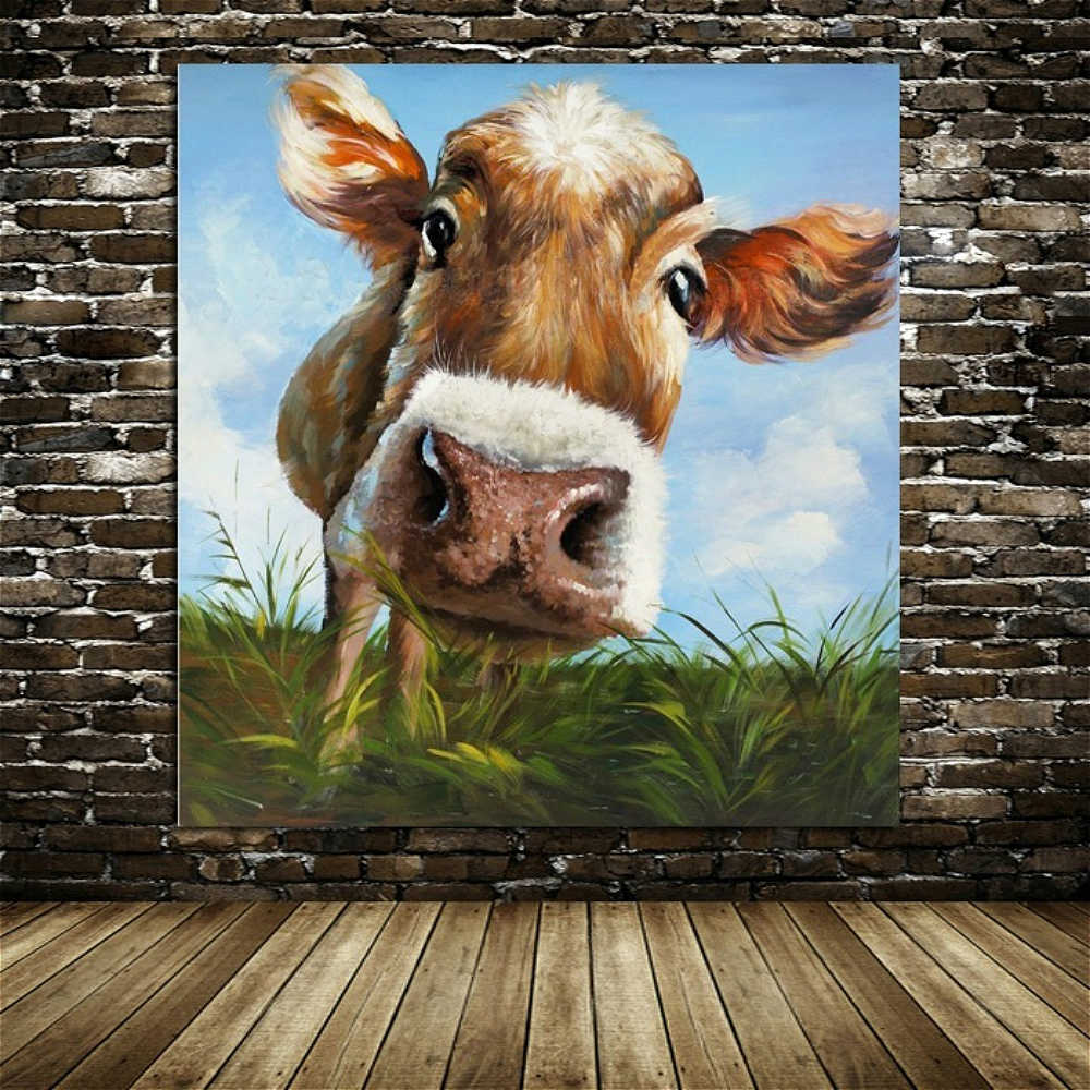 Cow Picture Abstract Wall Art Canvas Print Animal Artwork Painting for  Bedroom Kitchen Wall Decor Farm Grassland Home Decoration