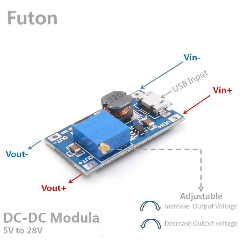 USB вход DCDC Boost модуль от 2 В/5 В до 28 в Регулируемая Установочная плата преобразователя для 9 В/12 В светодиодный затемнитель и мотор