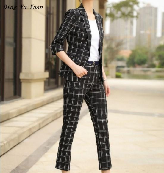 Womens Office Work Wear Black White Plaid Pant Suits for Women Blazer Trouser Set 2 Pieces Ladies Pants Suit Plus Size Pantsuit