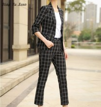 Womens Office Work Wear Black White Plaid Pant Suits for Women Blazer Trouser Set 2 Pieces Ladies Pants Suit Plus Size Pantsuit
