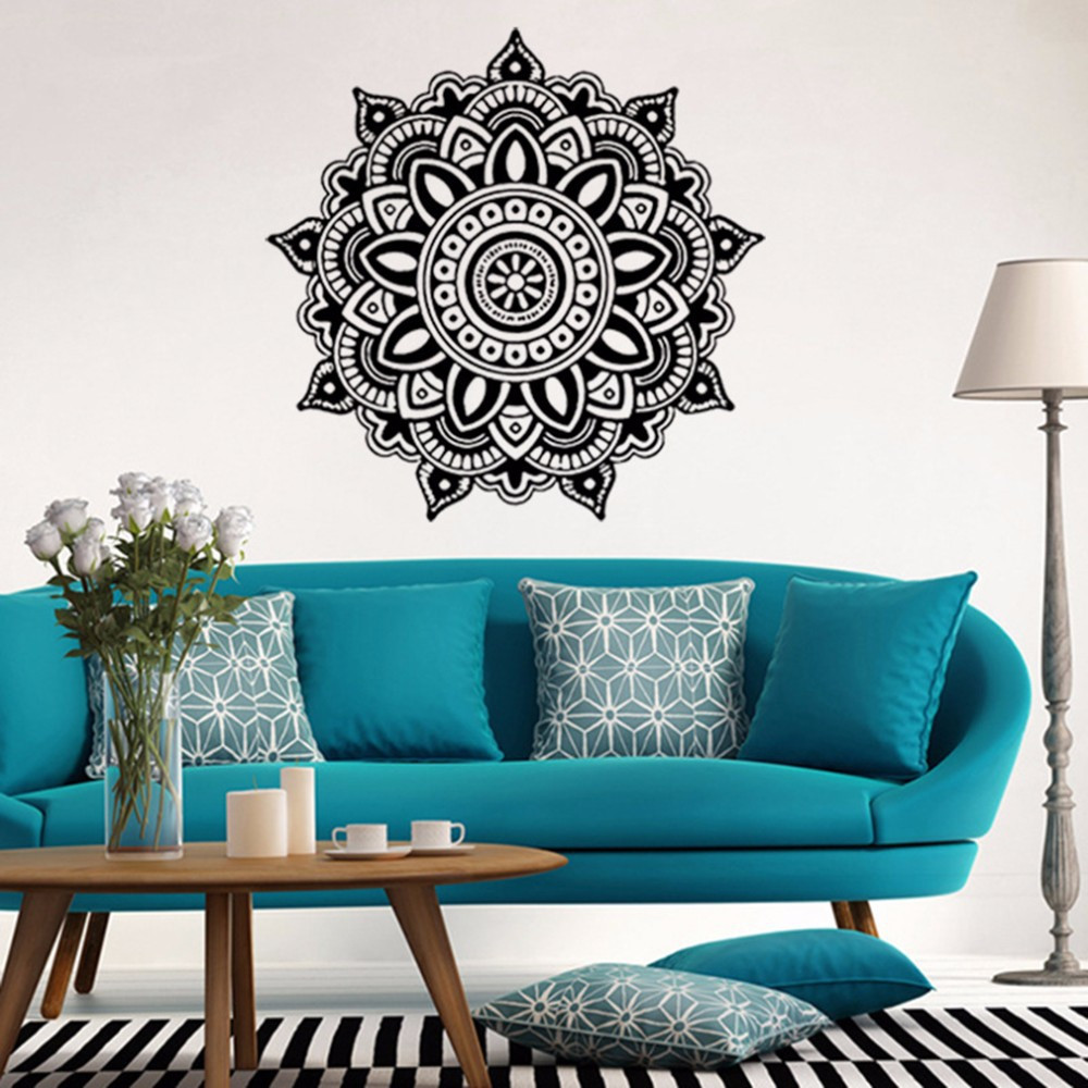2017 DIY Mandala Flower Indian Wall Stickers Bedroom Wall Decal Art ...