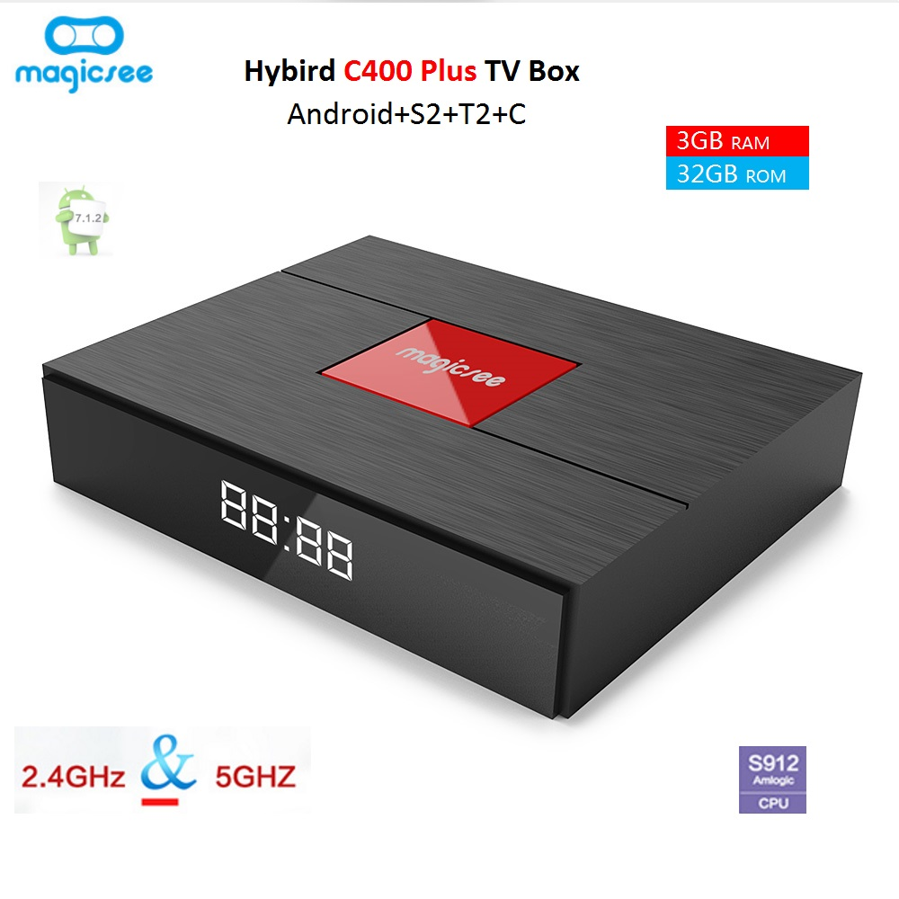 Magicsee C400 Plus Smart TV Box Android 7.1.2 Amlogic S912 Octa Core 3+32GB 4K DVB-S2 DVB-T2 Cable Dual WiFi Smart Set-top Box 10pcs vontar x92 3gb 32gb android 7 1 smart tv box amlogic s912 octa core cpu 2 4g 5g 4k h 265 set top box smart tv box