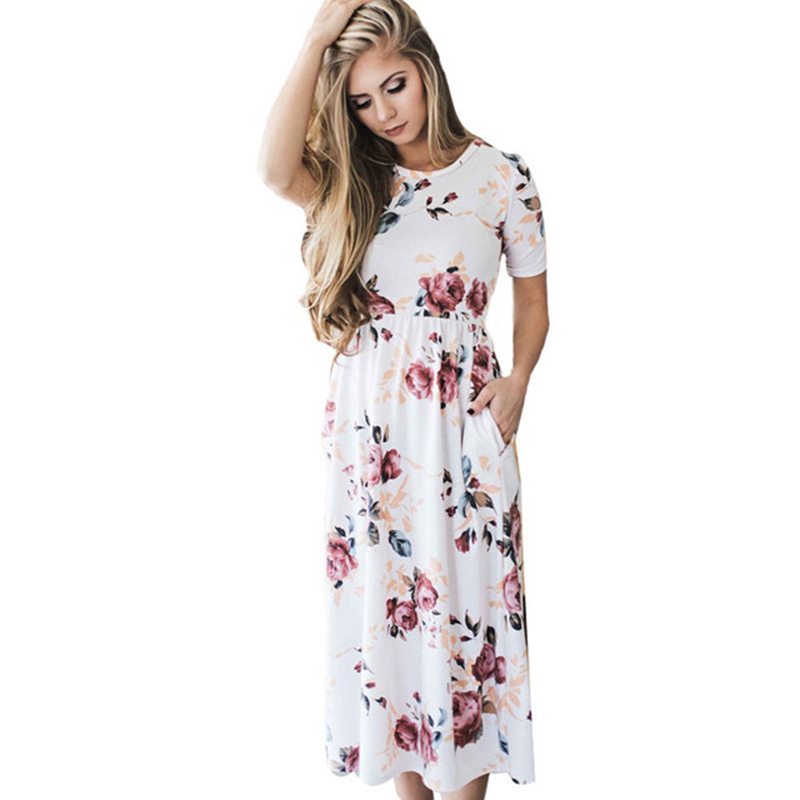 Fashion Maxi White Dress Autumn Style Print Flower Beach Long Mid Calf Dress Women Casual Short Sleeve Boho Dresses