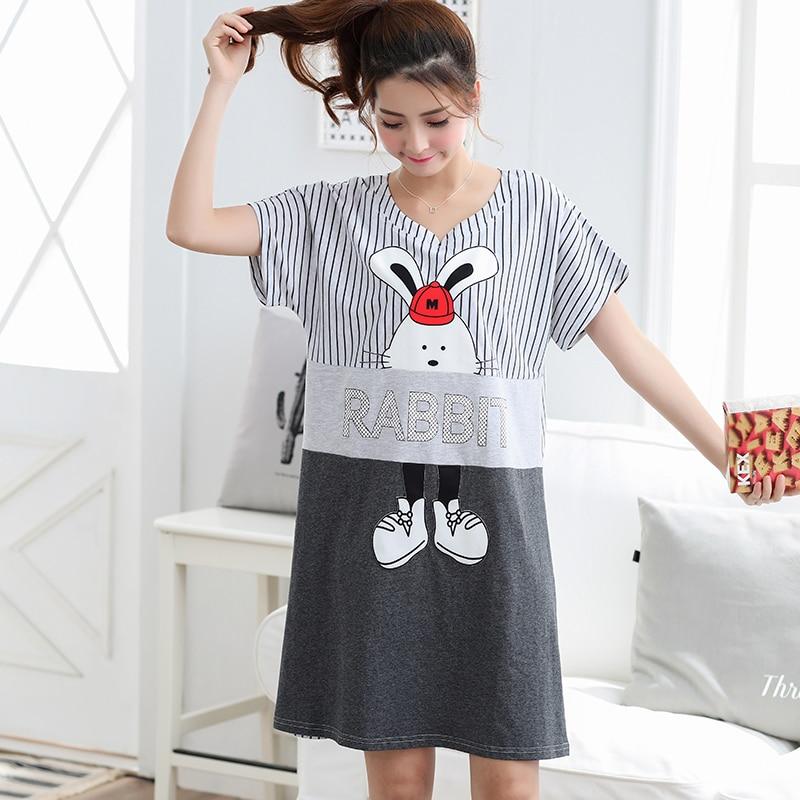 557d68464b1d Hot Sale Fashion Women Cotton Nightgowns Sleepshirts Summer Home Dress  Sleepwear Loose Nightdress Indoor Clothing M-3XL