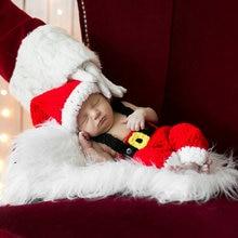 92d2f890b9847 Noël bébé photographie accessoires tricot chapeau tenues accessoires Photo  nouveau-né Bonnet bébé casquette noël Photo Costume e.