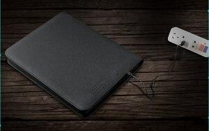 Image 5 - 多機能革ファイルフォルダ A4 ジッパーバッグマネージャーと ipad と携帯電話スタンド弾性剛性 USB fasterner 1105E