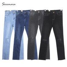 Узкие джинсы высокая талия женщин Высокого стрейч Разорвал отверстие прямые Узкие Джинсы Брюки высокое качество синий серый черный цвет