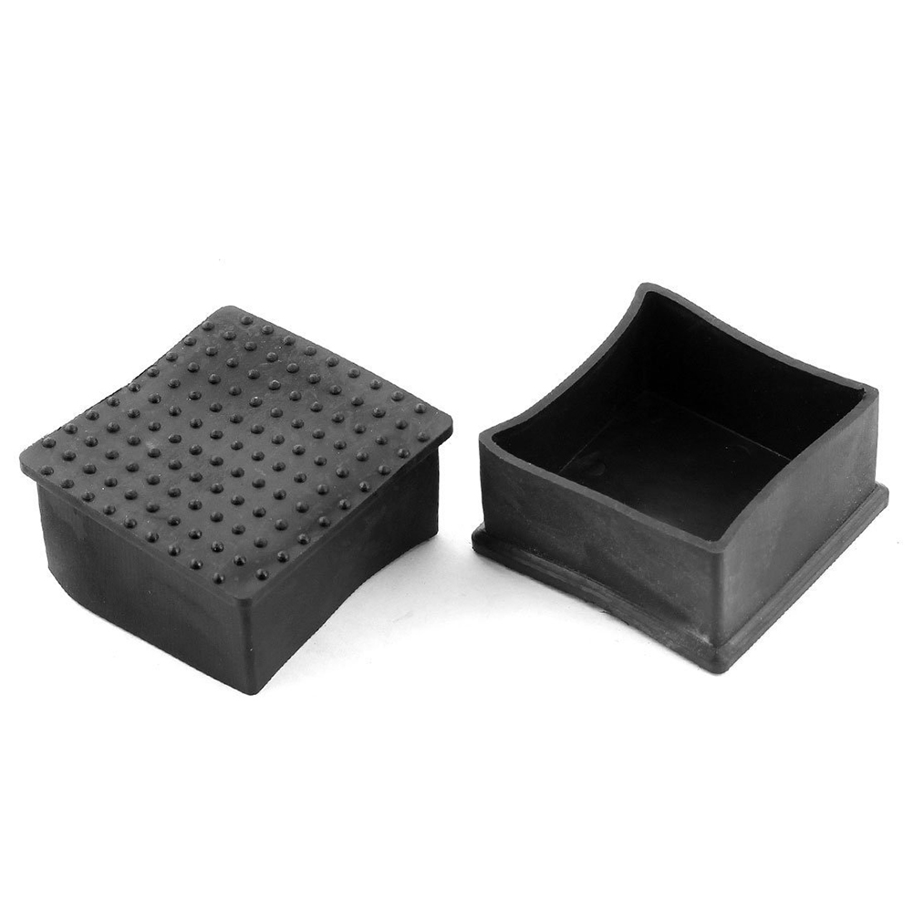 Furniture Chair Square Leg Protector PVC Soft Glue Foot 60mmx60mm 2Pcs Black pvc soft glue furniture table foot round