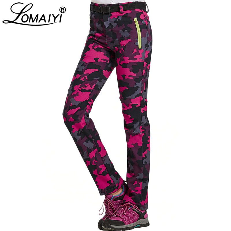 LOMAIYI Women's Winter Softshell Pants Women Windproof Waterproof Camouflage Trousers Black Pantalon Female Camo Pants AW206