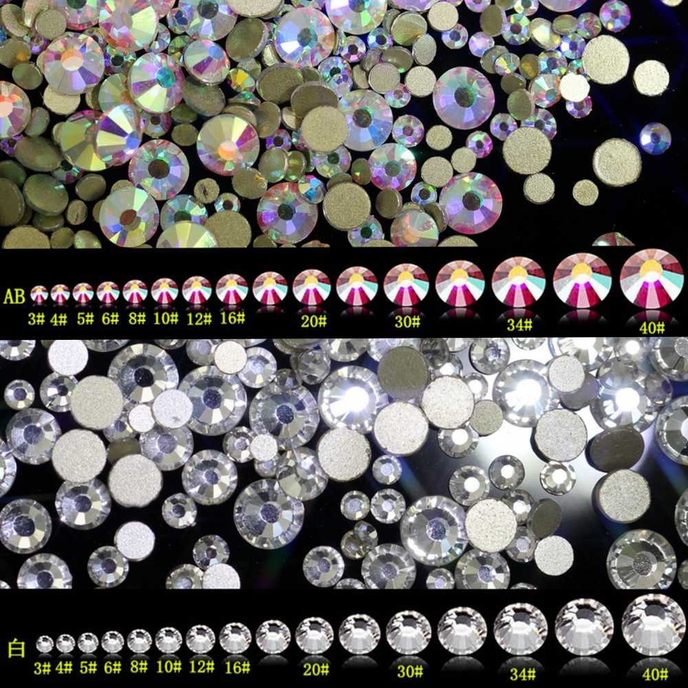 Super Shiny SS3-ss40 Clear Crystal AB 3D Non HotFix FlatBack Nail Art Decorations Flatback Rhinestones Gold Foiled Stones