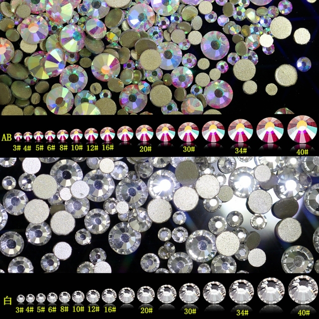 269266fdf229 Super Shiny SS3-ss40 Clear Crystal AB 3D Non HotFix FlatBack Nail Art  Decorations Flatback Rhinestones Gold Foiled Stones