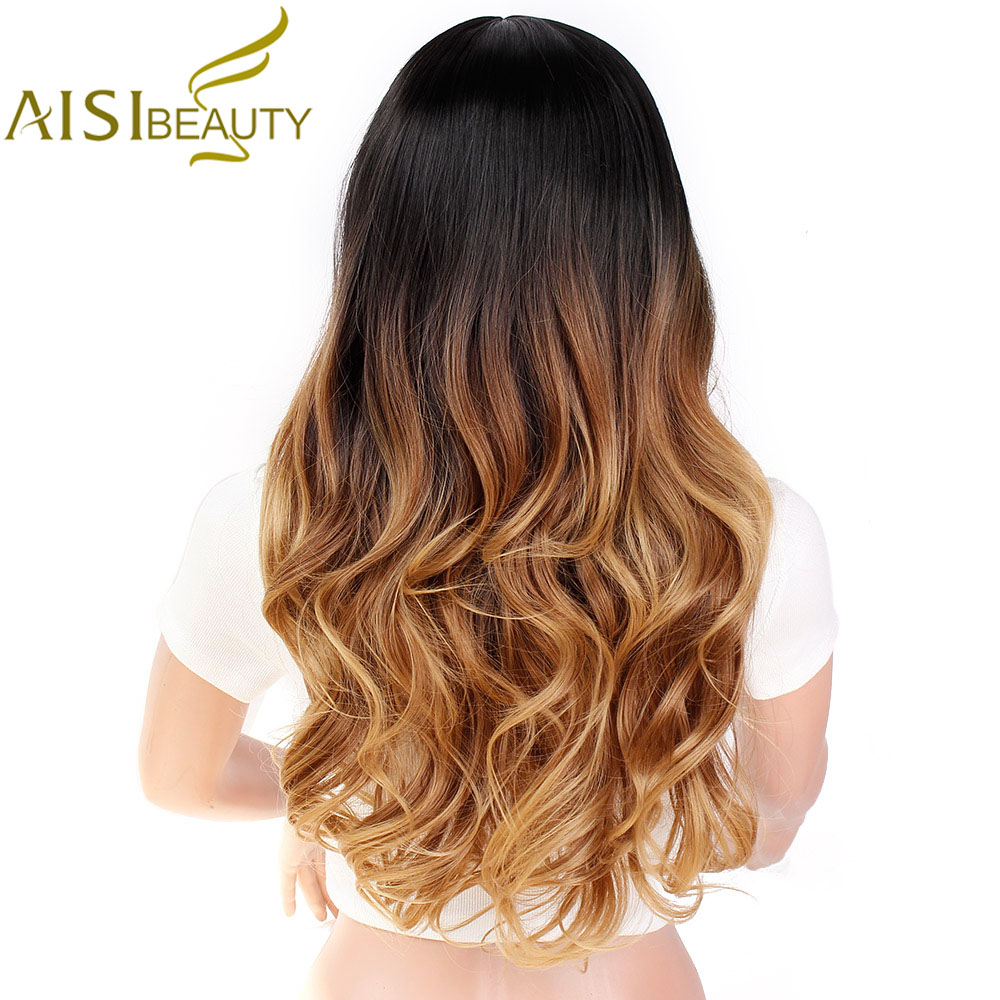 AISI BEAUTY Ombre Long Blonde Brown Wavy Wigs For Women Synthetic Black Gray Red Female Daily Party Heat Resistant False Hair 5
